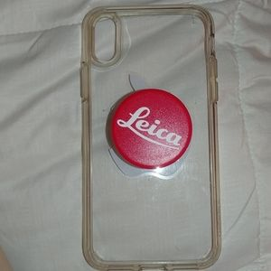 Clear case for iPhone xs with attached popsocket